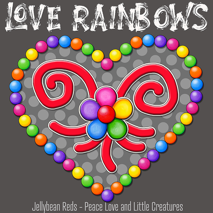 Heart with Rainbow Orbs and Rainbow Flower - Love Rainbows - Bright Gray on Jewel Gray Background - Afternoon