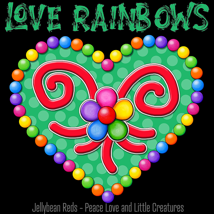 Heart with Rainbow Orbs and Rainbow Flower - Love Rainbows - Bright Green on Black Background - Electric Night