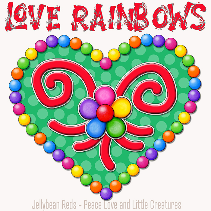 Heart with Rainbow Orbs and Rainbow Flower - Love Rainbows - Green on Cream Background - Early Morning