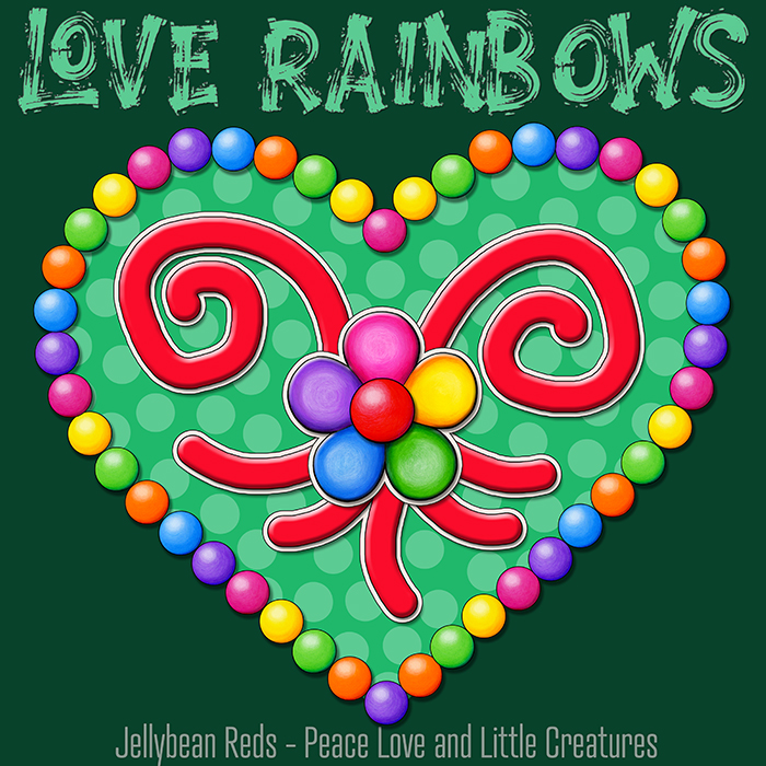 Heart with Rainbow Orbs and Rainbow Flower - Love Rainbows - Bright Green on Dark Green Background - Late Afternoon