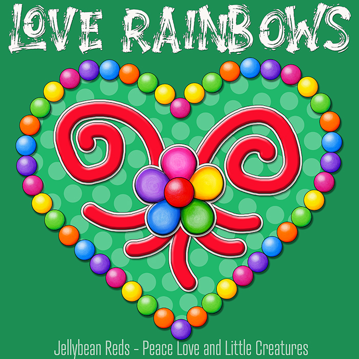 Heart with Rainbow Orbs and Rainbow Flower - Love Rainbows - Bright Green on Jewel Green Background - Afternoon