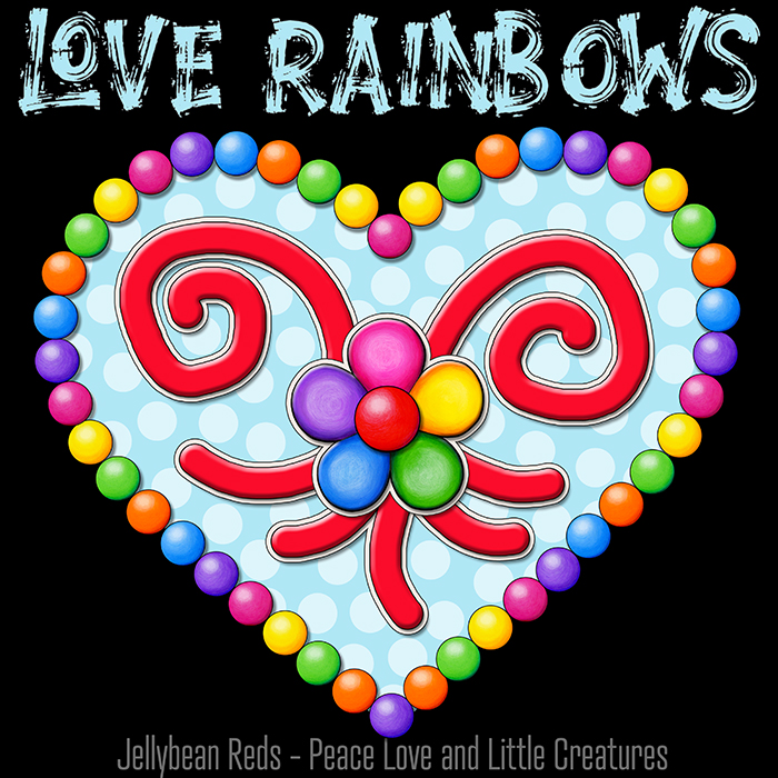 Heart with Rainbow Orbs and Rainbow Flower - Love Rainbows - Bright Magic Blue on Black Background - Electric Night