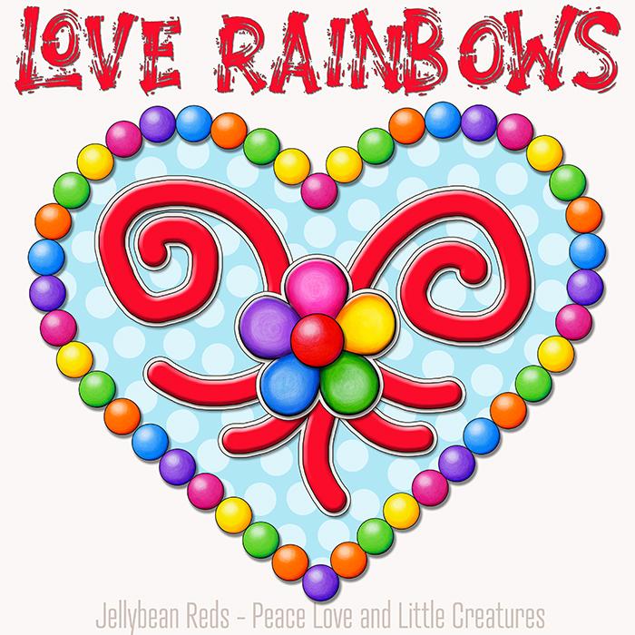 Heart with Rainbow Orbs and Rainbow Flower - Love Rainbows - Magic Blue on Cream Background - Early Morning