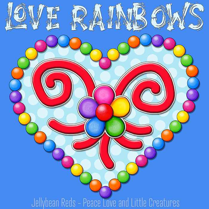 Heart with Rainbow Orbs and Rainbow Flower - Love Rainbows - Bright Magic Blue on Dark Magic Blue Background - Late Afternoon