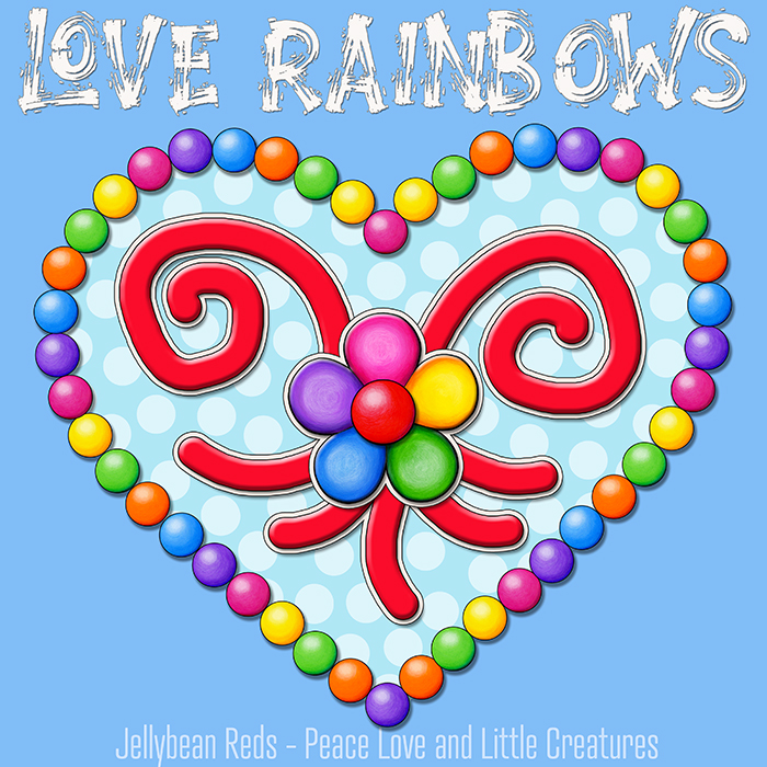 Heart with Rainbow Orbs and Rainbow Flower - Love Rainbows - Bright Magic Blue on Jewel Magic Blue Background - Afternoon