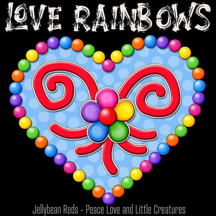 Heart with Rainbow Orbs and Rainbow Flower - Love Rainbows
