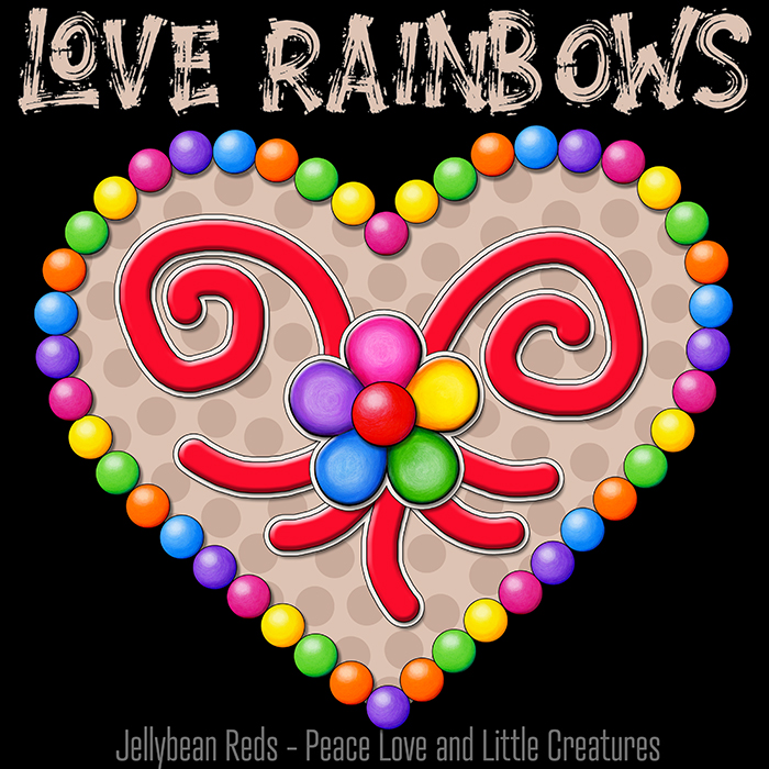 Heart with Rainbow Orbs and Rainbow Flower - Love Rainbows - Bright Mocha on Black Background - Electric Night