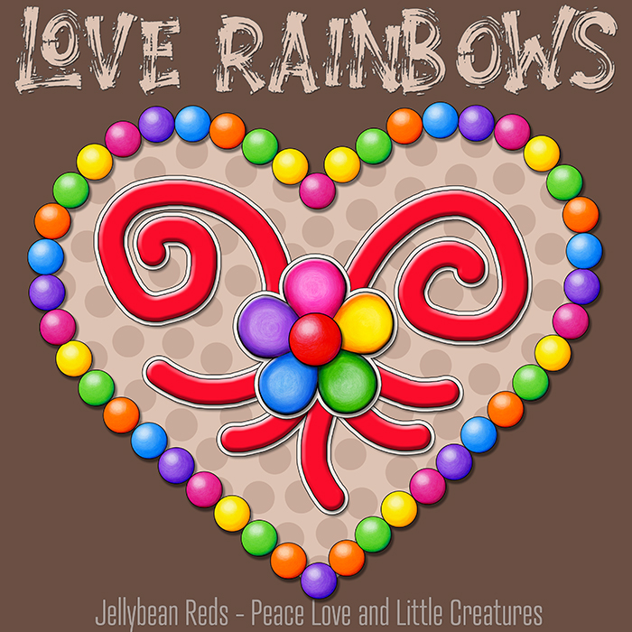 Heart with Rainbow Orbs and Rainbow Flower - Love Rainbows - Bright Mocha on Dark Mocha Background - Late Afternoon