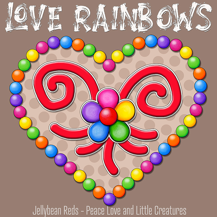 Heart with Rainbow Orbs and Rainbow Flower - Love Rainbows - Bright Mocha on Jewel Mocha Background - Afternoon