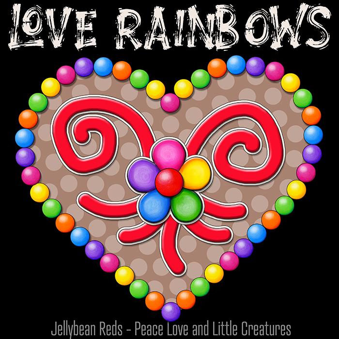 Heart with Rainbow Orbs and Rainbow Flower - Love Rainbows Jewel Mocha on Black Background - Night