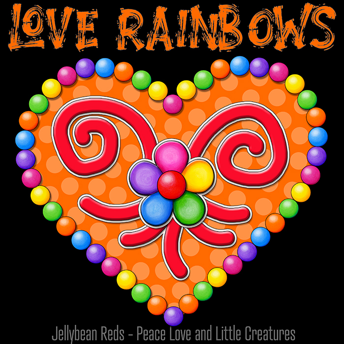 Heart with Rainbow Orbs and Rainbow Flower - Love Rainbows - Bright Orange on Black Background - Electric Night