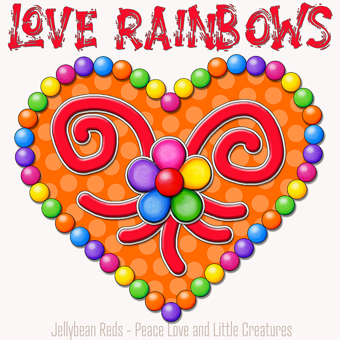 Heart with Rainbow Orbs and Rainbow Flower - Love Rainbows - Orange on Cream Background - Early Morning