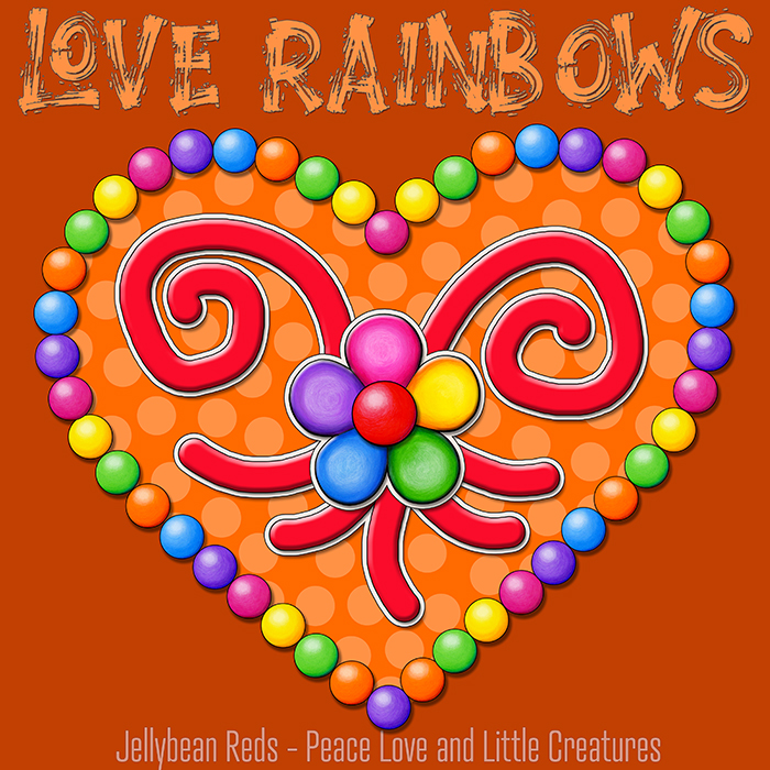 Heart with Rainbow Orbs and Rainbow Flower - Love Rainbows - Bright Orange on Dark Orange Background - Late Afternoon