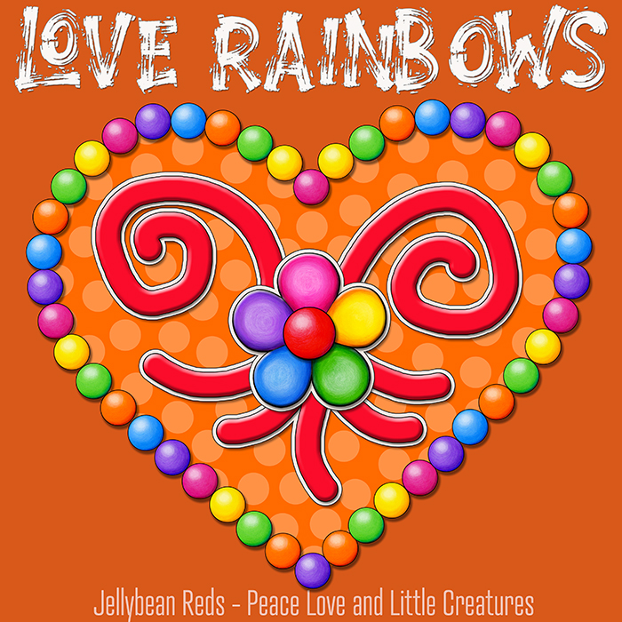 Heart with Rainbow Orbs and Rainbow Flower - Love Rainbows - Bright Orange on Jewel Orange Background - Afternoon