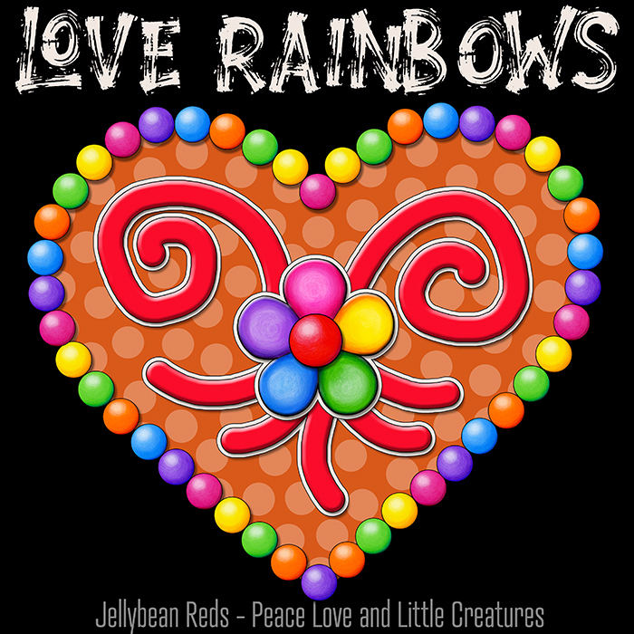 Heart with Rainbow Orbs and Rainbow Flower - Love Rainbows - Jewel Orange on Black Background - Night