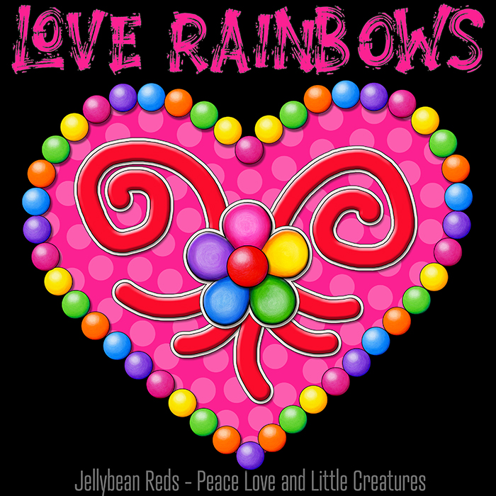Heart with Rainbow Orbs and Rainbow Flower - Love Rainbows - Bright Pink on Black Background - Electric Night