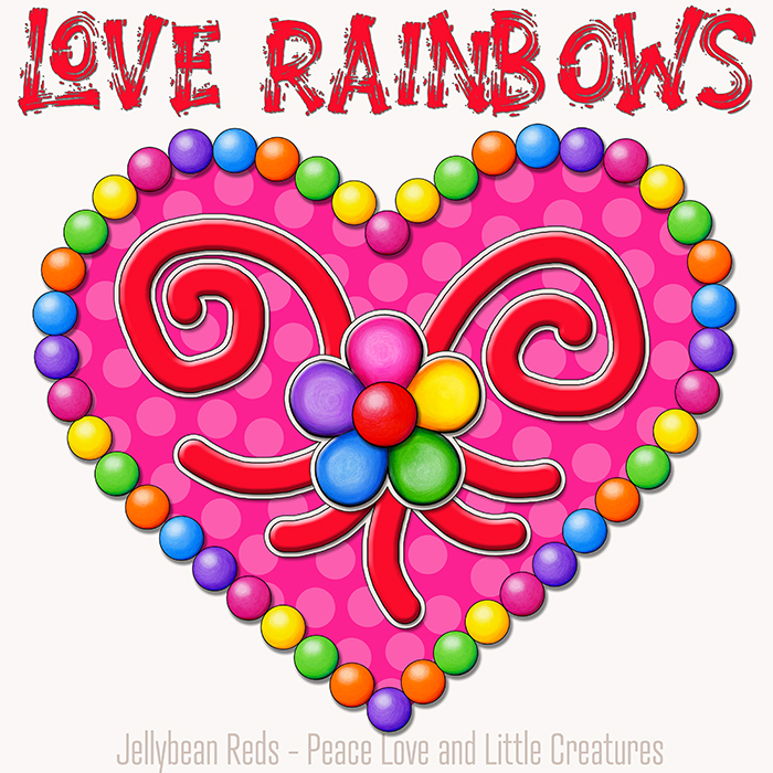 Heart with Rainbow Orbs and Rainbow Flower - Love Rainbows - Pink on Cream Background - Early Morning