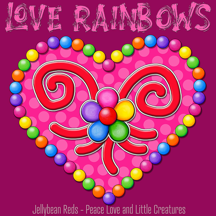 Heart with Rainbow Orbs and Rainbow Flower - Love Rainbows - Bright Pink on Dark Pink Background - Late Afternoon