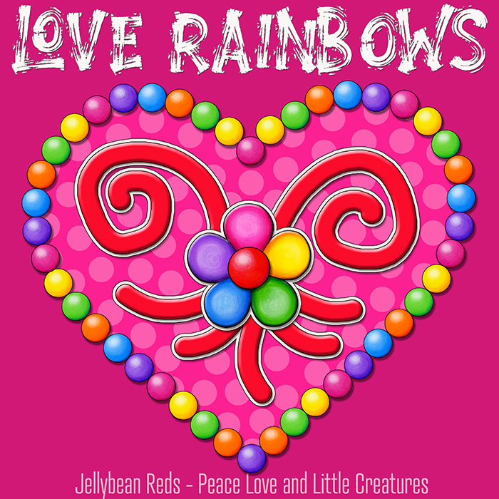 Heart with Rainbow Orbs and Rainbow Flower - Love Rainbows - Bright Pink on Jewel Pink Background - Afternoon