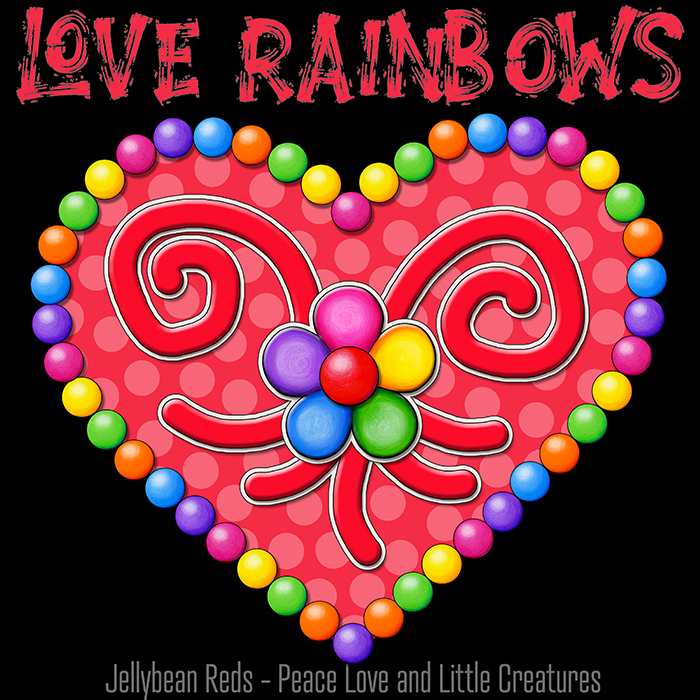 Heart with Rainbow Orbs and Rainbow Flower - Love Rainbows - Bright Red on Black Background - Electric Night