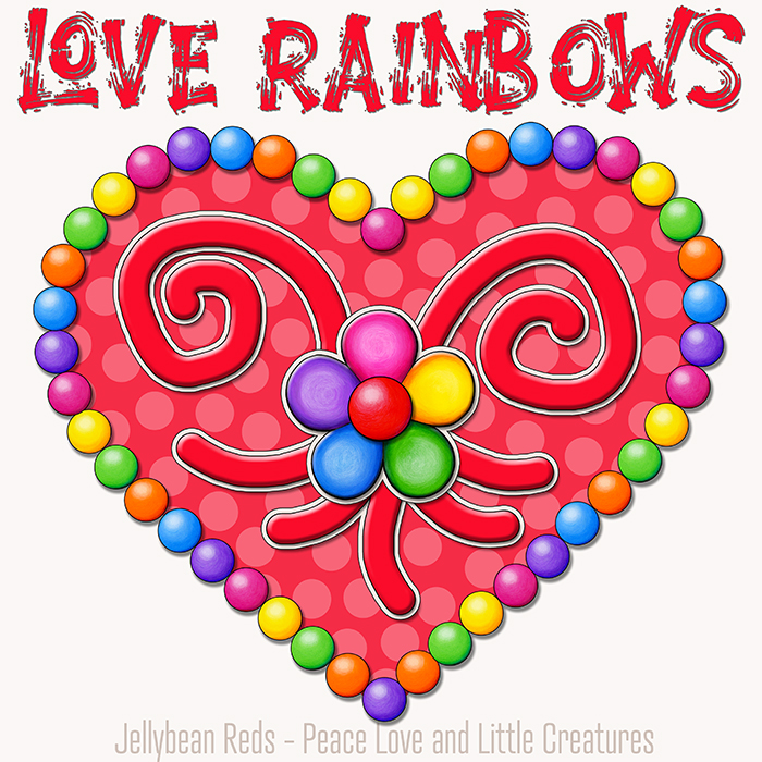 Heart with Rainbow Orbs and Rainbow Flower - Love Rainbows - Red on Cream Background - Early Morning