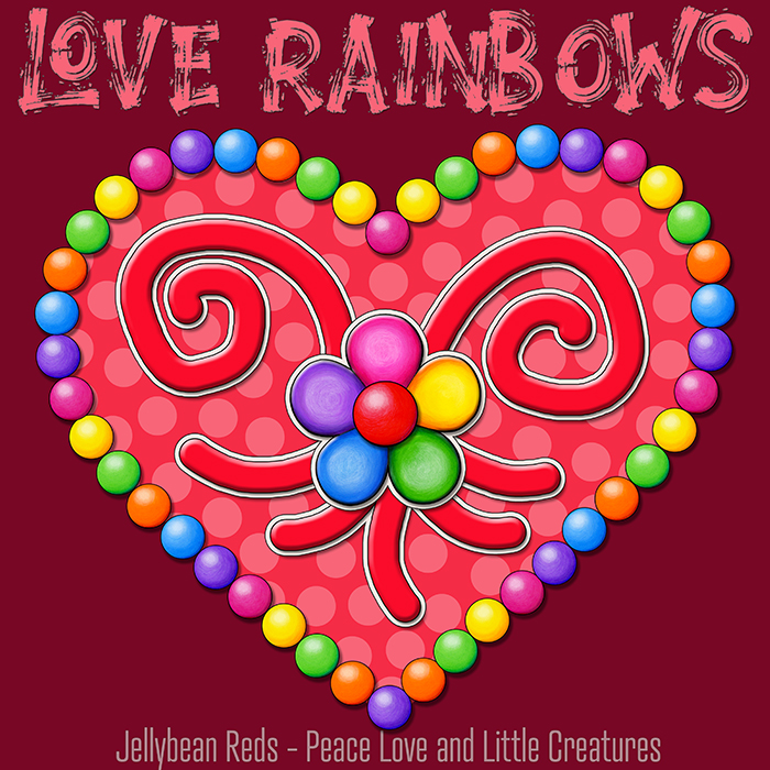Heart with Rainbow Orbs and Rainbow Flower - Love Rainbows - Bright Red on Dark Red Background - Late Afternoon