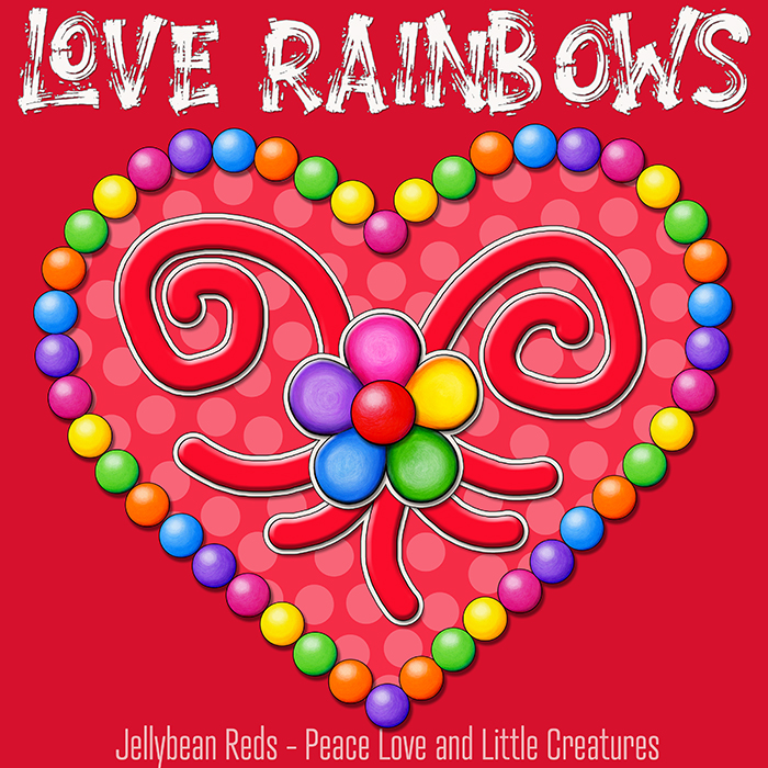 Heart with Rainbow Orbs and Rainbow Flower - Love Rainbows - Bright Red on Jewel Red Background - Afternoon
