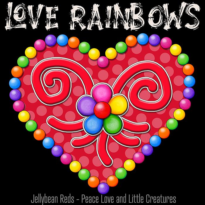 Heart with Rainbow Orbs and Rainbow Flower - Love Rainbows Jewel Red on Black Background - Night