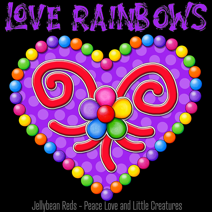 Heart with Rainbow Orbs and Rainbow Flower - Love Rainbows - Bright Violet on Black Background - Electric Night
