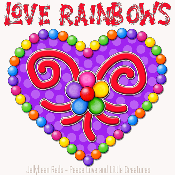 Heart with Rainbow Orbs and Rainbow Flower - Love Rainbows - Violet on Cream Background - Early Morning