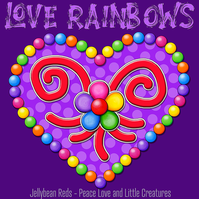 Heart with Rainbow Orbs and Rainbow Flower - Love Rainbows - Bright Violet on Dark Violet Background - Late Afternoon