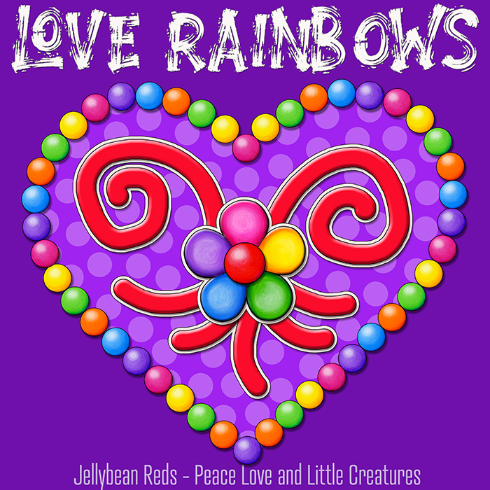 Heart with Rainbow Orbs and Rainbow Flower - Love Rainbows - Bright Violet on Jewel Violet Background - Afternoon