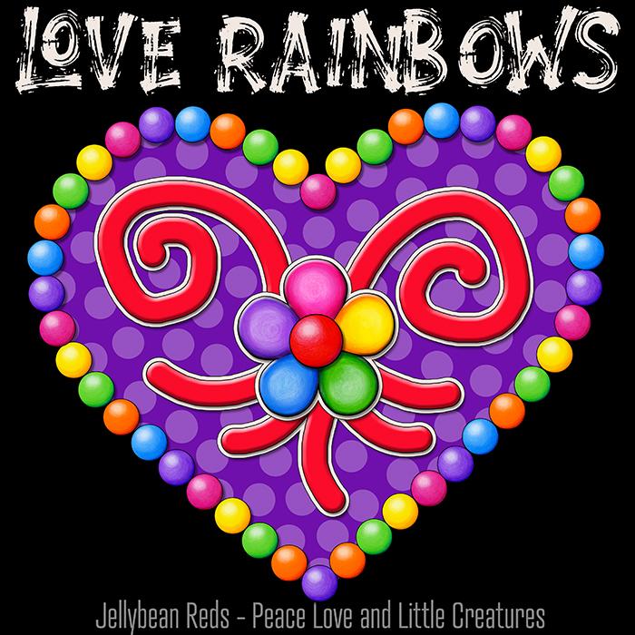 Heart with Rainbow Orbs and Rainbow Flower - Love Rainbows Jewel Violet on Black Background - Night