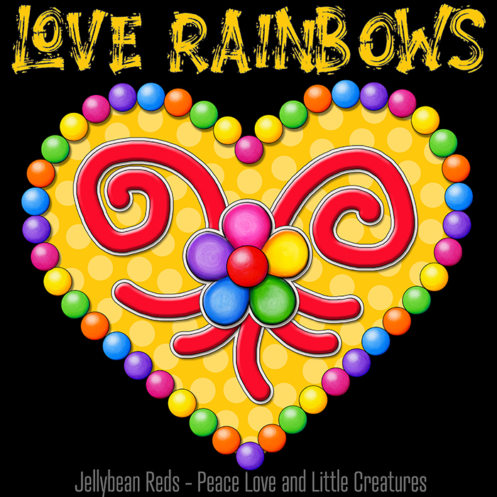 Heart with Rainbow Orbs and Rainbow Flower - Love Rainbows - Bright Yellow on Black Background - Electric Night