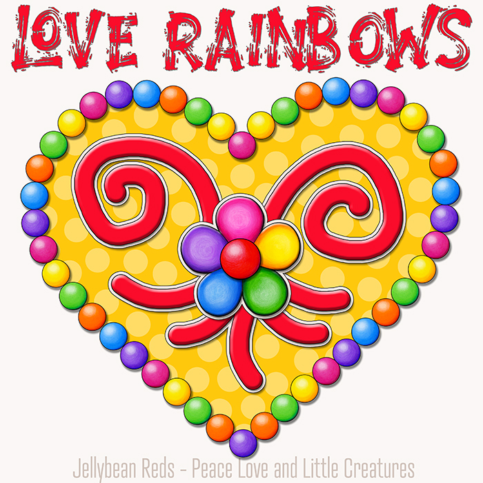 Heart with Rainbow Orbs and Rainbow Flower - Love Rainbows - Yellow on Cream Background - Early Morning