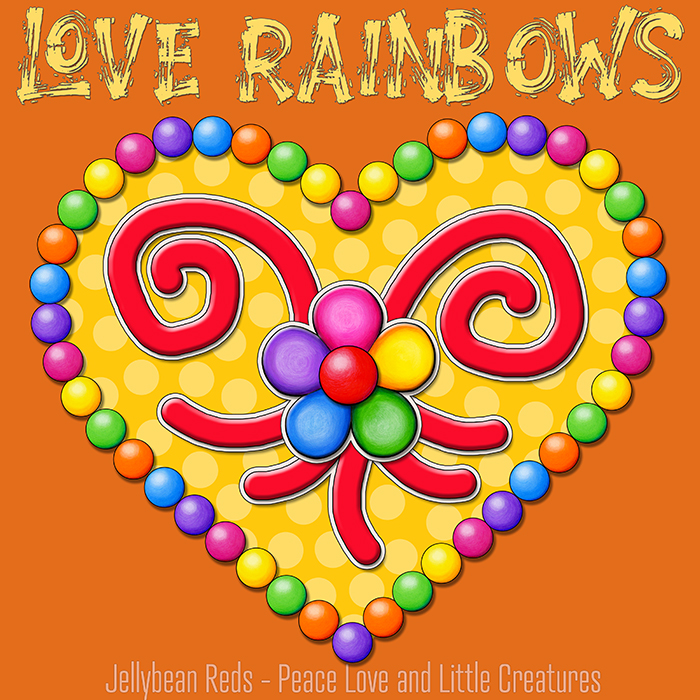 Heart with Rainbow Orbs and Rainbow Flower - Love Rainbows - Bright Yellow on Dark Yellow Background - Late Afternoon