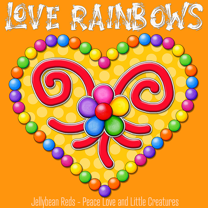 Heart with Rainbow Orbs and Rainbow Flower - Love Rainbows - Bright Yellow on Jewel Yellow Background - Afternoon