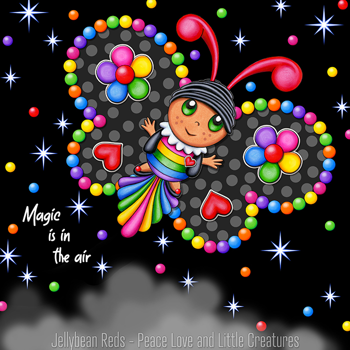 Butterfly creature with black wings accented with rainbow orbs, flowers and hearts flying in a starry night sky