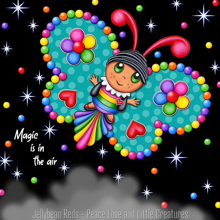 Butterfly creature with bright aqua wings accented with rainbow orbs, flowers and hearts flying in a starry night sky