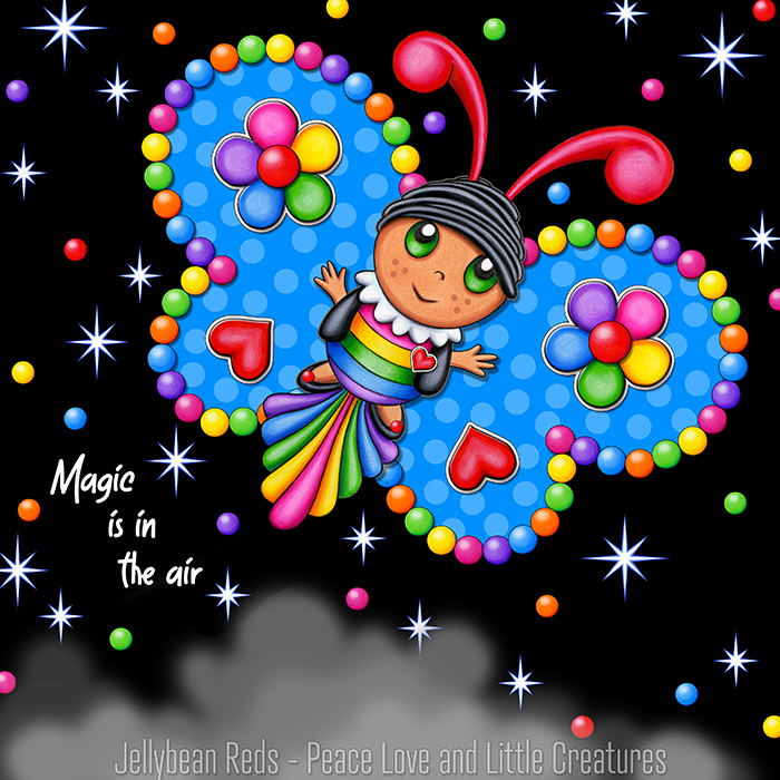 Butterfly creature with bright blue wings accented with rainbow orbs, flowers and hearts flying in a starry night sky