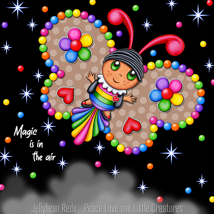 Butterfly creature with bright brown wings accented with rainbow orbs, flowers and hearts flying in a starry night sky