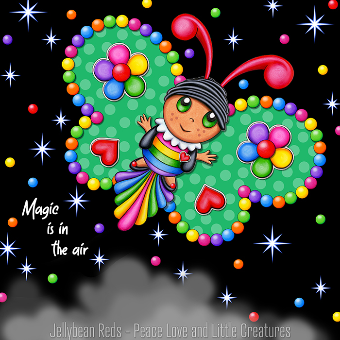 Butterfly creature with bright green wings accented with rainbow orbs, flowers and hearts flying in a starry night sky