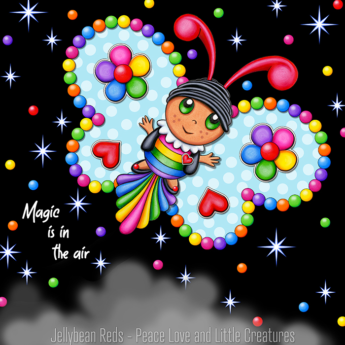 Butterfly creature with bright magic blue wings accented with rainbow orbs, flowers and hearts flying in a starry night sky