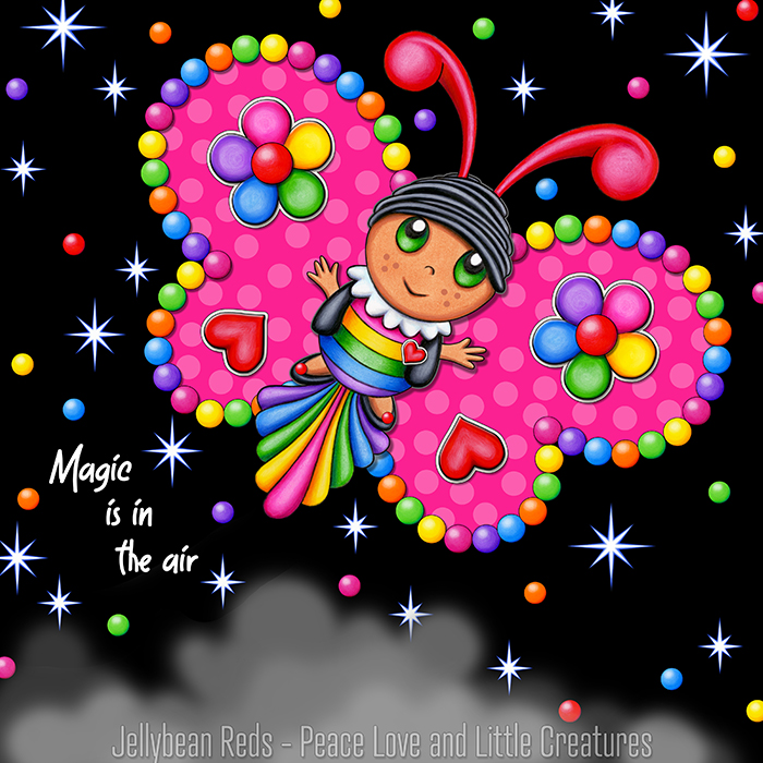 Butterfly creature with bright pink wings accented with rainbow orbs, flowers and hearts flying in a starry night sky