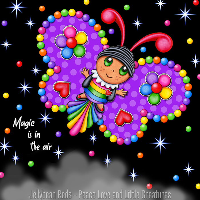 Butterfly creature with bright violet wings accented with rainbow orbs, flowers and hearts flying in a starry night sky