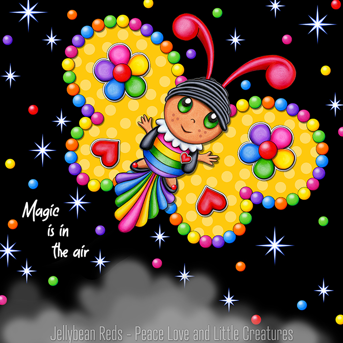 Butterfly creature with bright yellow wings accented with rainbow orbs, flowers and hearts flying in a starry night sky