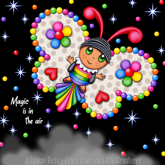 Butterfly creature with cream and beige wings accented with rainbow orbs, flowers and hearts flying in a starry night sky
