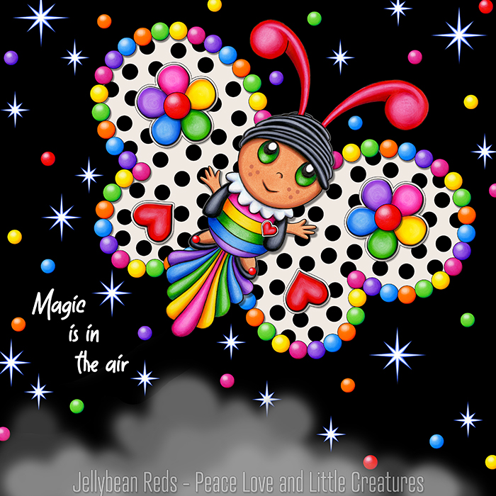 Butterfly creature with cream and black wings accented with rainbow orbs, flowers and hearts flying in a starry night sky