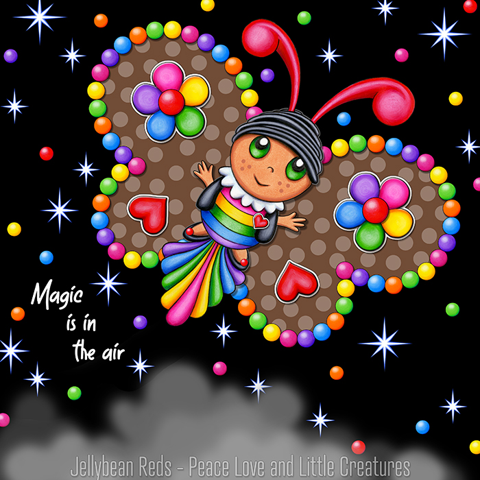 Butterfly creature with jewel brown wings accented with rainbow orbs, flowers and hearts flying in a starry night sky