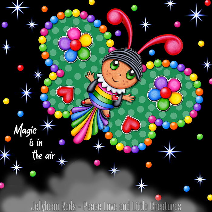 Butterfly creature with jewel green wings accented with rainbow orbs, flowers and hearts flying in a starry night sky